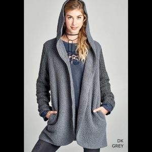 Sweaters - Hoodie openfront Sherpa sweater 2  fabric cardigan